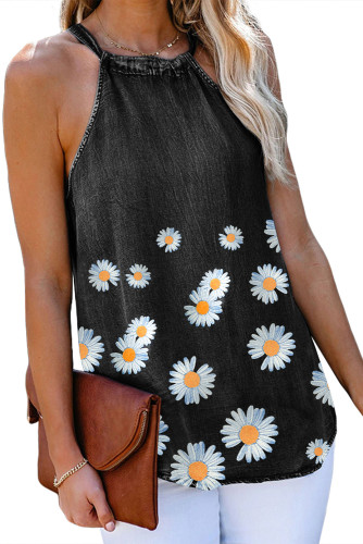 Black Daisy Floral Print Halter Denim Tank Tops For Women LC2561649-2