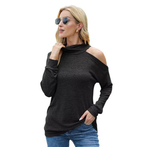 Dark Gray Knit Halter Cold Shouder Long Sleeve Top TQK210835-26