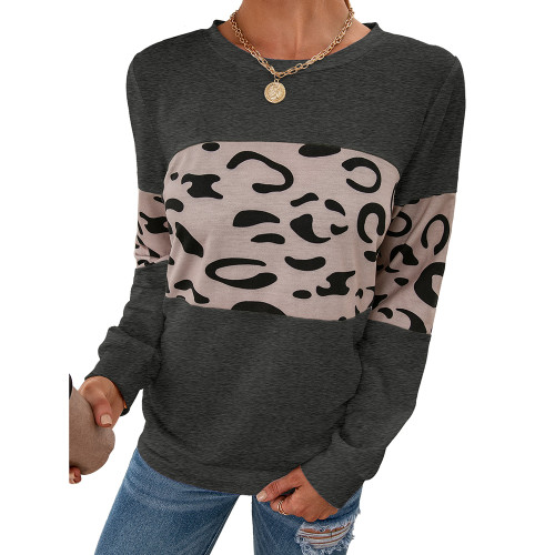 Dark Gray Contrast Leopard Pullover Sweatshirt TQK230323-26