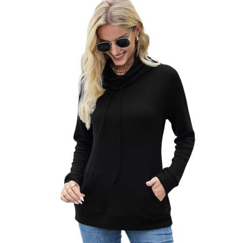 Black Heap Collar Drawstring Pocket Long Sleeve Top TQK210836-2