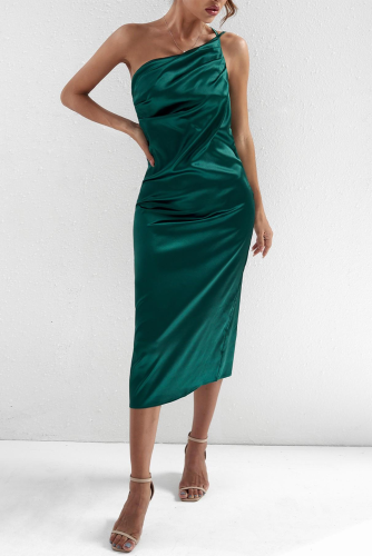 Green One Shoulder Backless Sexy Maxi Dress LC618030-9
