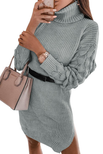 Gray Plain Turtleneck Sweater Dress with Slits LC273155-11