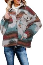 Distressed Aztec Print Lapel Long Sleeve Button Shirt Jacket LC8511342-22