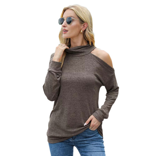 Coffee Knit Halter Cold Shouder Long Sleeve Top TQK210835-15