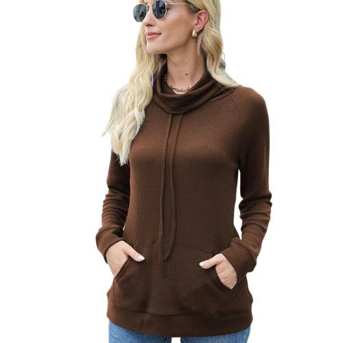 Coffee Heap Collar Drawstring Pocket Long Sleeve Top TQK210836-15