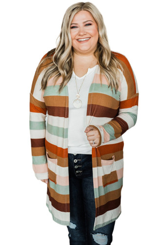 Stripe Print Open Front Plus Size Cardigan with Pocket LC851136-17