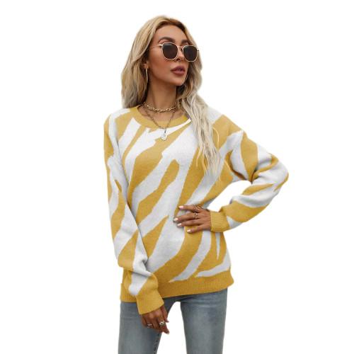 Yellow Striped Print Knit Pullover Sweater TQK271305-7