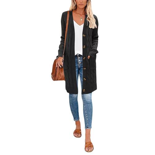 Black Button Down Pocketed Knit Long Cardigan TQK271320-2