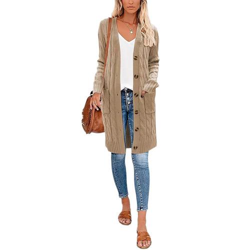 Khaki Button Down Pocketed Knit Long Cardigan TQK271320-21