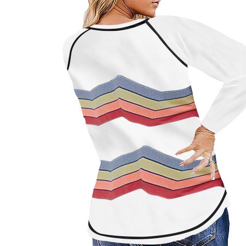White Stripe Print Loose Plus Size Tops TQK810018-1