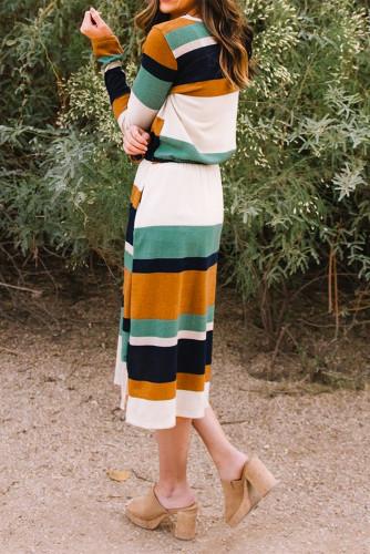 Green Multicolor Block Drawstring Waist Long Sleeve Midi Dress LC617712-9
