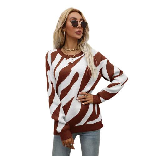 Reddish Brown Striped Print Knit Pullover Sweater TQK271305-66