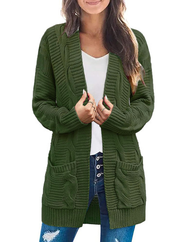 Solid Grass Green Cable Knit Long Cardigan with Pockets TQK271319-61