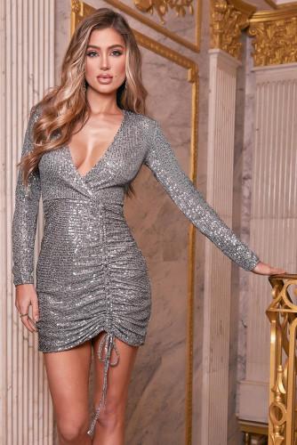 Gray Sequin Deep V Neck Side Shirring Long Sleeve Mini Dress LC229213-11