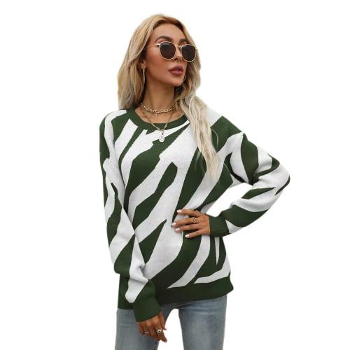 Army Green Striped Print Knit Pullover Sweater TQK271305-27