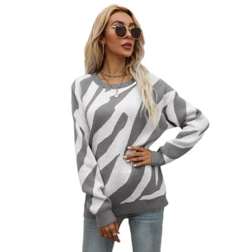 Gray Striped Print Knit Pullover Sweater TQK271305-11