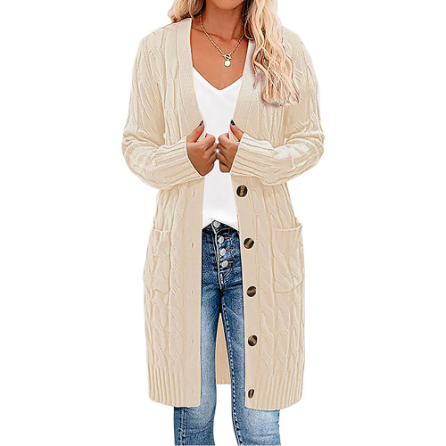 Beige Button Down Pocketed Knit Long Cardigan TQK271320-46