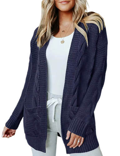 Solid Navy Blue Cable Knit Long Cardigan with Pockets TQK271319-34