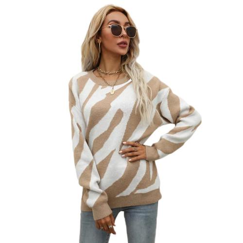 Khaki Striped Print Knit Pullover Sweater TQK271305-21
