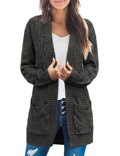 Solid Dark Gray Cable Knit Long Cardigan with Pockets TQK271319-26