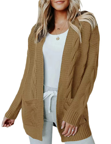Solid Khaki Cable Knit Long Cardigan with Pockets TQK271319-21