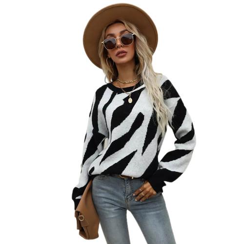 Black Striped Print Knit Pullover Sweater TQK271305-2