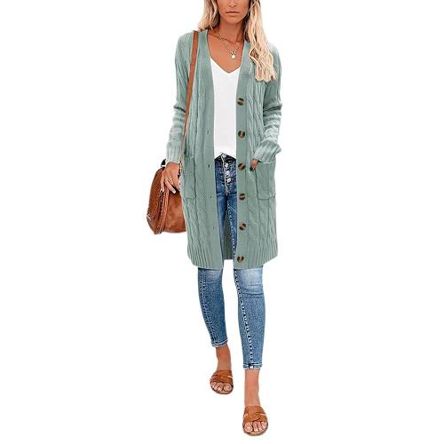 Grass Green Button Down Pocketed Knit Long Cardigan TQK271320-64