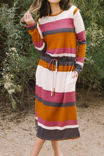Red Multicolor Block Drawstring Waist Long Sleeve Midi Dress LC617712-3
