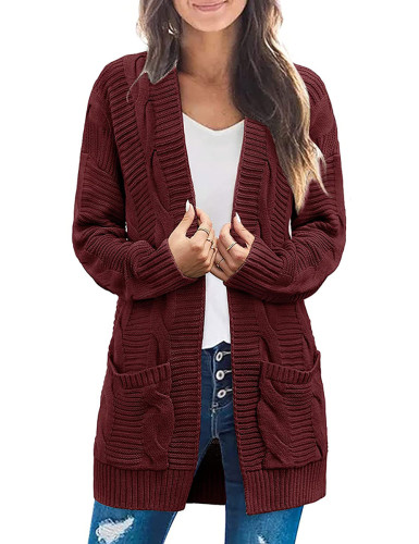 Solid Wine Red Cable Knit Long Cardigan with Pockets TQK271319-23