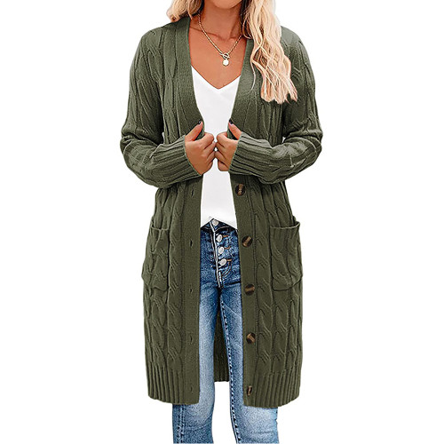 Army Green Button Down Pocketed Knit Long Cardigan TQK271320-27