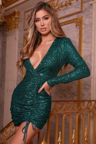 Green Sequin Deep V Neck Side Shirring Long Sleeve Mini Dress LC229213-9