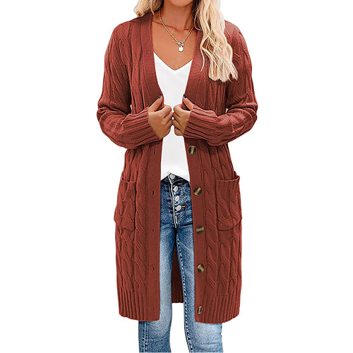 Rust Red Button Down Pocketed Knit Long Cardigan TQK271320-33