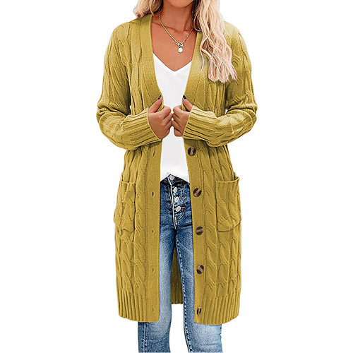 Yellow Button Down Pocketed Knit Long Cardigan TQK271320-7