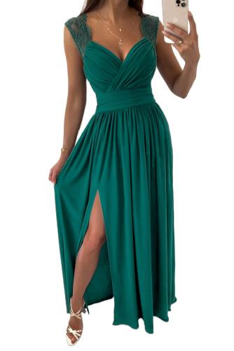 Green V Neck Zip Backless Lace Splicing Side Split Maxi Dress LC617432-9