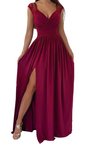 Wine Red V Neck Zip Backless Lace Splicing Side Split Maxi Dress LC617432-3