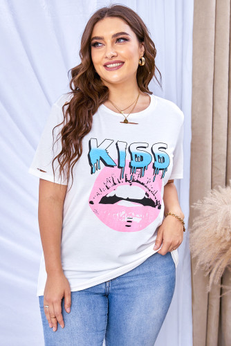 KISS Lips Graphic Ripped Plus Size Tee LC2524582-1