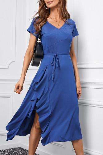 Blue V Neck Short Sleeve Ruffle Belted Midi Dress LC617504-5