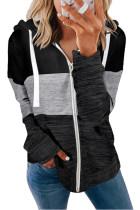 Black Colorblock Zip Front Hooded Coat LC8511389-2