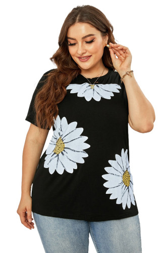 Daisy Graphic Ripped Plus Size Tee LC2524582-2