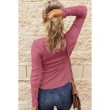 Purplish Pink Button Up Crochet Lace Hem Sleeve Top TQK210567-32
