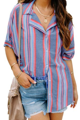 Blue Button Striped Short Sleeves Shirt LC255995-5