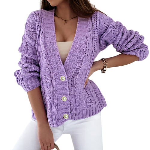 Purple Chunky Wide Button Front Cardigan TQK271312-8
