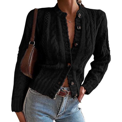 Black Button-up Cable Knit Cardigan TQK271313-2