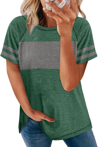 Green Stripe Sleeve Colorblock T-shirt LC2527921-9