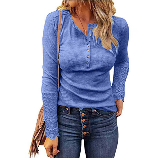 Blue Button Up Crochet Lace Hem Sleeve Top TQK210567-30