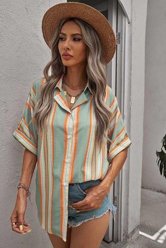 Green Button Striped Short Sleeves Shirt LC255995-9