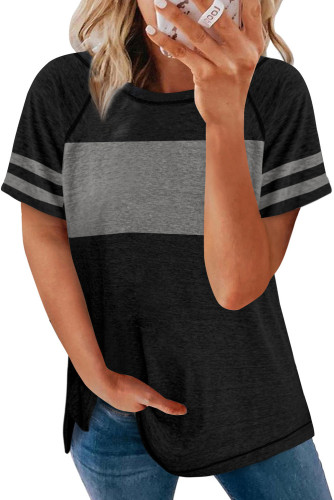 Black Stripe Sleeve Colorblock T-shirt LC2527921-2