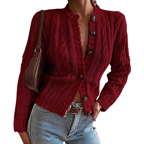 Wine Red Button-up Cable Knit Cardigan TQK271313-23