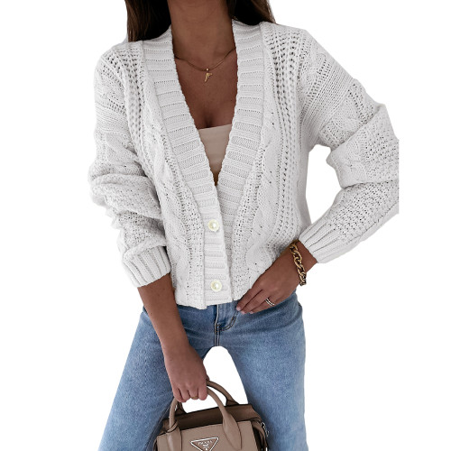 Beige Chunky Wide Button Front Cardigan TQK271312-46