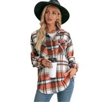 Orange Plaid Print Cashmere Long Sleeve Shirt Jacket TQK280108-14